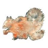 Illustration d'aquarelle d'une silhouette d'écureuil Photos libres de droits