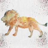 Illustration d'aquarelle d'une silhouette de lion Photo libre de droits