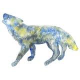 Illustration d'aquarelle d'une silhouette de loup Photos libres de droits
