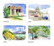 Illustration d'aquarelle de belles vues de nature illustration libre de droits