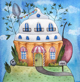 Illustration d'aquarelle de Chambre de gâteau/de petit gâteau illustration de vecteur