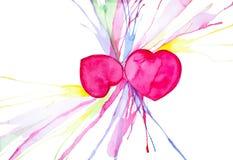 Illustration d'aquarelle de coeurs du résumé deux la Saint-Valentin D'isolement sur le fond blanc illustration libre de droits