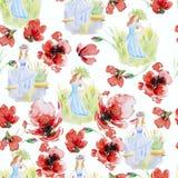 Illustration d'aquarelle de fleurs et filles Images stock