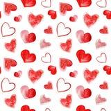 Illustration d'aquarelle de fond rouge de coeurs d'amour Modèle sans couture sur le fond blanc illustration libre de droits