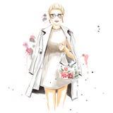 Illustration d'aquarelle de mode avec la fille magnifique Photos stock
