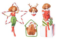 Illustration d'aquarelle de Noël images stock