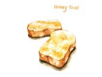 Illustration d'aquarelle de pain grillé français de miel illustration libre de droits