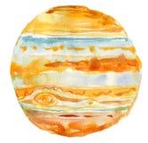Illustration d'aquarelle de planète Jupiter, objet d'isolement sur le fond blanc Photos stock