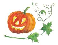 Illustration d'aquarelle de potiron de Halloween Images stock