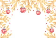 Illustration d'aquarelle de vue de Noël de cru avec l'escroquerie rouge illustration libre de droits