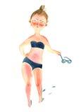 Illustration d'aquarelle Dissatisfied s'est décoloré au soleil femme dodue illustration stock