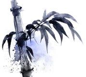 Illustration d'aquarelle et d'encre de bambou avec le watersplash de couleur Images stock