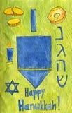 Illustration d'aquarelle Hanukkah heureux Triptyque : Dreidel, bougies, sufganiyot de beignet illustration de vecteur