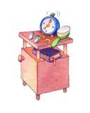 Illustration d'aquarelle Placard avec l'alarme, horloge, verres et Image stock