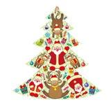 Illustration d'arbre de Noël décoré Images stock