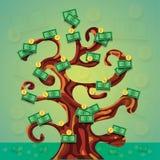 Illustration d'arbre de succès d'argent avec beaucoup d'argent liquide et pièces de monnaie du dollar Image libre de droits