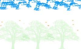 Illustration d'arbre et de feuille sur le fond blanc illustration stock
