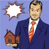 Illustration d'art de bruit de vecteur de vrai agent immobilier Photos libres de droits