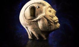 Illustration 3d artistique d'une structure principale humaine de résumé galactique doux avec une porte fermée du côté illustration stock