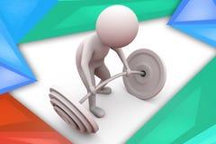 illustration d'ascenseur de poids de l'homme 3d Photos libres de droits