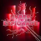 Illustration d'attaque criminelle de Cyber d'espionnage de Cyber 2d illustration stock