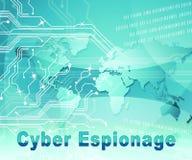 Illustration d'attaque criminelle de Cyber d'espionnage de Cyber 2d illustration libre de droits