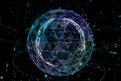 Illustration 3d ausführlicher virtueller Planet Erde Technologische digitale Kugelwelt stock abbildung