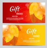 Illustration d'Autumn Gift Voucher Template Vector pour vos affaires Photos stock
