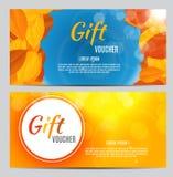 Illustration d'Autumn Gift Voucher Template Vector pour vos affaires Photographie stock libre de droits