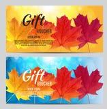 Illustration d'Autumn Gift Voucher Template Vector pour vos affaires Images stock