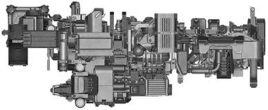 illustration 3d av abstrakt teknologi för industriell utrustning Royaltyfri Foto