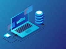 illustration 3D av bärbara datorn förbindelse med serveror på blå backgro royaltyfri illustrationer