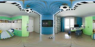illustration 3d av barnkammareinredesignen 360 grader, sömlös panorama Royaltyfri Foto