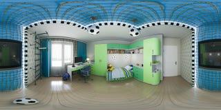 illustration 3d av barnkammareinredesignen 360 grader, sömlös panorama Arkivfoton