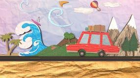 illustration 3D av begreppet av en sommarflykt eller resa på skymningen Royaltyfria Bilder