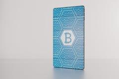 illustration 3D av bitcoin som visas på futuristisk skyddsram-fri sm Arkivbilder