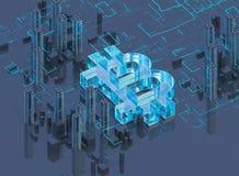 illustration 3D av bitcoinsymbolresningen från modern stad på stranden Arkivfoto