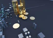 illustration 3D av bitcoinsymbolresningen från modern stad på stranden Royaltyfri Bild