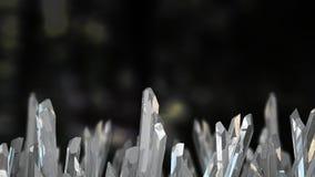illustration 3D av crystal stenmakromineral Kvartskristaller på svart bakgrund Arkivbilder