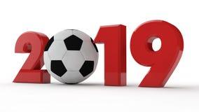 illustration 3D av 2019 datum, fotbollboll, fotbollera, år av sporten framförande 3d Idén för kalendern royaltyfri illustrationer