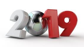illustration 3D av datum 2019, med en fotbollboll Idén för kalendern, tolkning 3D av världscupen, segerdatumet _ vektor illustrationer