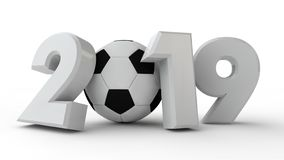 illustration 3D av datum 2019, med en fotbollboll Idén för kalendern, tolkning 3D av världscupen, segerdatumet stock illustrationer