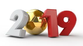 illustration 3D av datum 2019, med en fotbollboll Idén för kalendern, tolkning 3D av världscupen, segerdatumet _ royaltyfri illustrationer