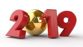 illustration 3D av datum 2019, med en fotbollboll Idén för kalendern, tolkning 3D av världscupen, segerdatumet _ stock illustrationer