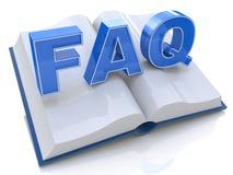 illustration 3d av den öppnade boken med FAQ-tecknet Arkivfoton