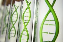 illustration 3d av den glass modellen av DNAmolekylen stock illustrationer