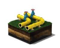 illustration 3d av den gula rörledningen med blåa ventiler på avsnittet av land som isoleras på vit bakgrund Fotografering för Bildbyråer