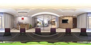 illustration 3d av den moderna korridoren för inre 360 Royaltyfri Fotografi