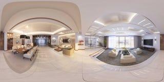 illustration 3d av den moderna korridoren för inre 360 Arkivfoto