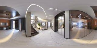 illustration 3d av den moderna korridoren för inre 360 Arkivfoton